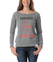 Diamond Supply Girls Mined Over Matter Grey Crew Neck Sweatshirt