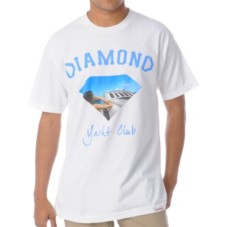 Diamond Supply Yacht Girl White Tee Shirt