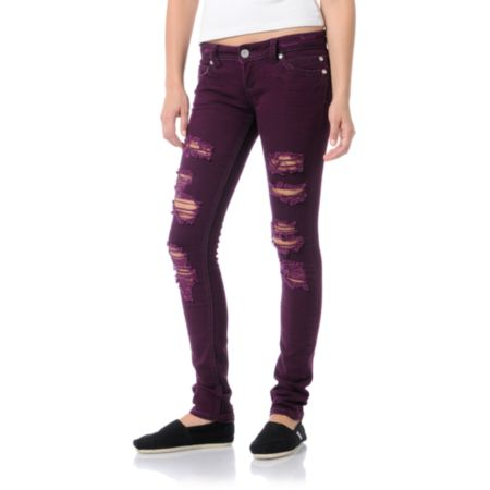 Almost Famous Jana Distressed Plum Purple Skinny Jeans