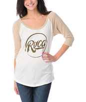 RVCA Girls Roundabout Natural Baseball Tee Shirt