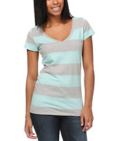 Zine Girls Aruba Grey & Turquoise Stripe V-Neck Pocket Tee Shirt