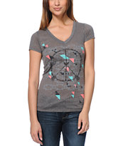 Empyre Girls Peacekeeper Heather Charcoal V-Neck Tee Shirt