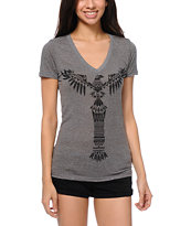 Empyre Girls Totem Heather Charcoal V-Neck Tee Shirt