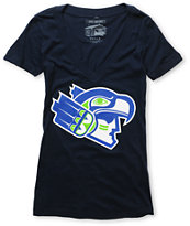 Casual Industrees Girls 12th Man Navy Blue V-Neck Tee Shirt