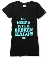 Crooks and Castles Girls Broken Halos Black V-Neck Tee Shirt