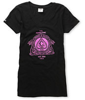 Crooks and Castles Girls Cobra Crest Black V-Neck Tee Shirt