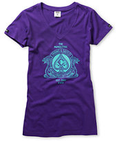 Crooks and Castles Girls Cobra Crest Purple V-Neck Tee Shirt