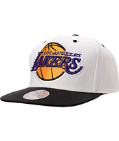 Mitchell And Ness LA Lakers XL Logo White & Black Snapback