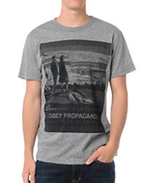 Obey These Sunsets Mock Twist Heather Grey Tee Shirt