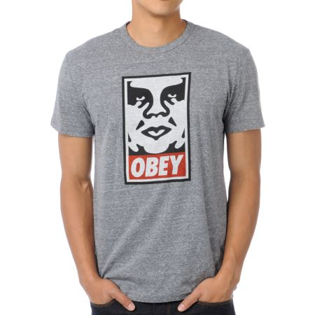 Obey Icon Heather Grey Tri-Blend Tee Shirt