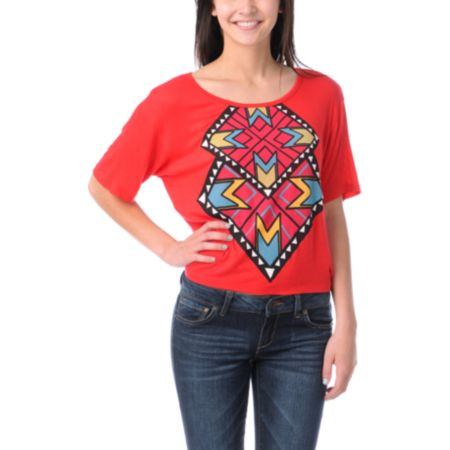 CDC Apparel Tribal Triangles Red Top