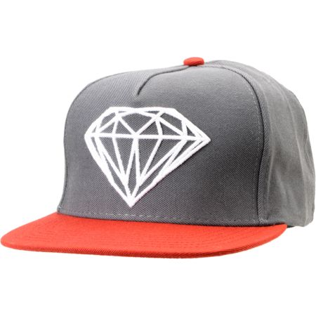 Diamond Supply Brilliant Grey & Red Snapback Hat