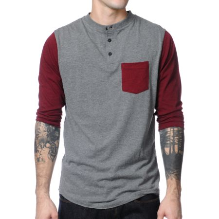 Dravus Pickpocket Grey & Maroon Henley Baseball Tee Shirt