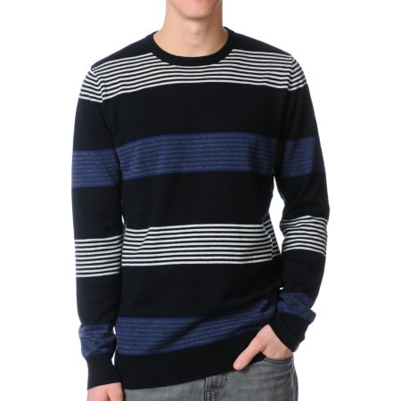 Empyre Boost Black Striped Crew Neck Sweater