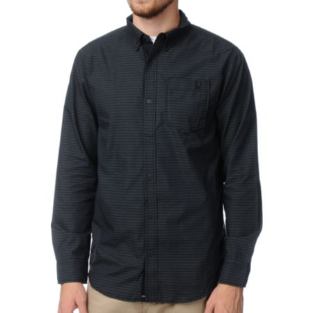 Dravus Parallel Black Striped Long Sleeve Woven Shirt