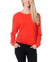 Empyre Girls Amelia Fiery Red Lace Top