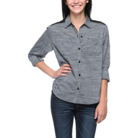 Empyre Girls Chakra Charcoal & Black Button Up Shirt