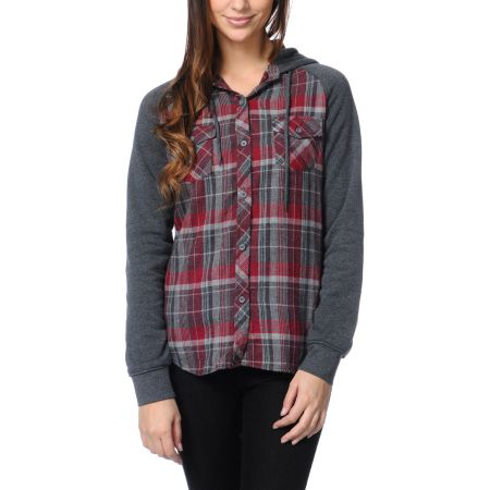 Empyre Girls Sycamore Red Plaid Hooded Flannel Shirt