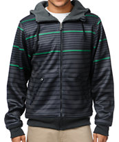 Empyre Hollis Black & Green Striped Tech Fleece Jacket