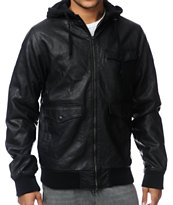 Dravus Assault Black Hooded Faux Leather Jacket