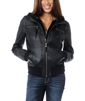 Empyre Girls Coven Black Hooded Bomber Jacket