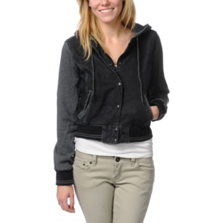 Dravus Girls Rambler Black Jean Varsity Jacket