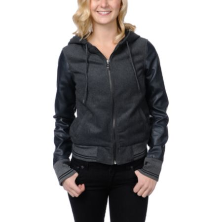Dravus Girls Brighton Charcoal Grey Varsity Jacket