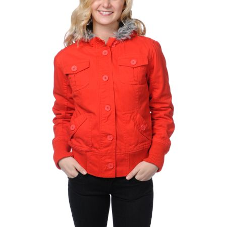 Empyre Girls Cicada Fiery Red Canvas Bomber Jacket