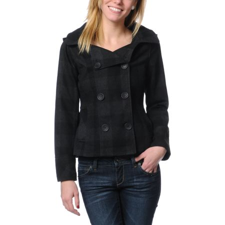 Empyre Girls Alchemy Charcoal & Black Buffalo Plaid Peacoat