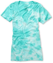 Empyre Girls Pool Green Tie Dye V-Neck Tee Shirt
