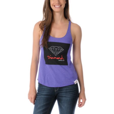 Diamond Supply Girls OG Sign Purple Tank Top