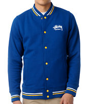 Stussy Blue Fleece Varsity Jacket