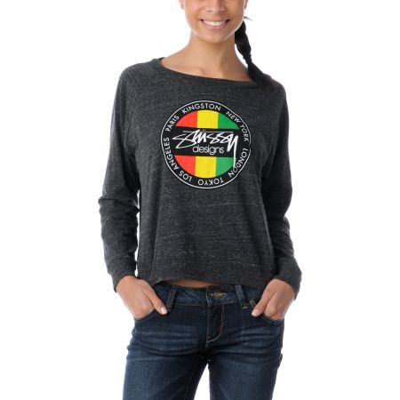 Stussy Girl Kingston Dot Charcoal Boyfriend Raglan Top
