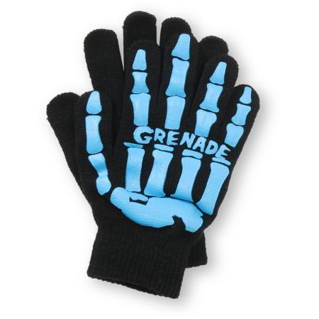 Grenade Skull Black & Blue Gloves