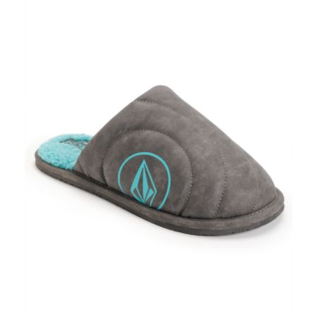 Volcom Girls Slacker Grey & Teal Slippers