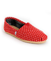 Toms Classics Red & White Dot Girls Shoe