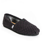 Toms Classics Black & Purple Dot Girls Shoe