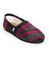 Toms Classics Girls Pink Plaid Wool Shoes