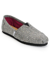Toms Classics Black Metallic Herringbone Girls Shoe