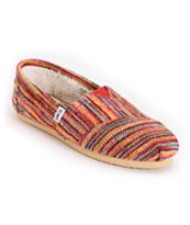Toms Classics Girls Multi Knit Shearling Shoes