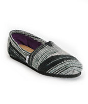 Toms Classics Girls Black Striped Wool Shoes