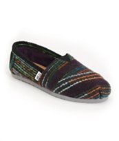 Toms Classics Girls Multicolored Striped Wool Shoes