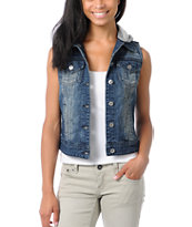 Thread and Supply Dark Blue Hooded Denim Vest Jacket