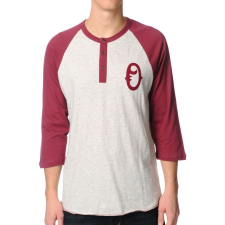 Obey Loaded Burgundy Henley Baseball Tee Shirt