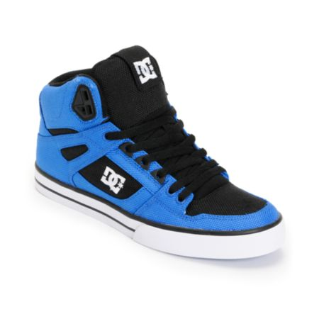 DC Spartan Hi WC TX Royal & Black Canvas Skate Shoe