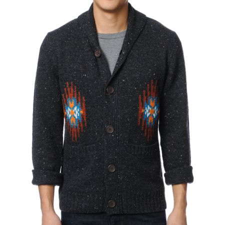 Obey Native Print Grey Cardigan Sweater