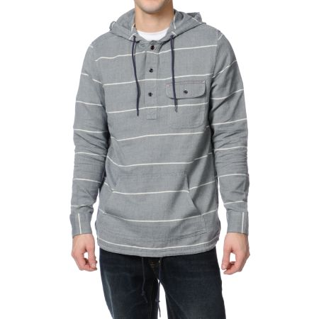 Altamont Vernon Henley Navy Striped Hooded Shirt