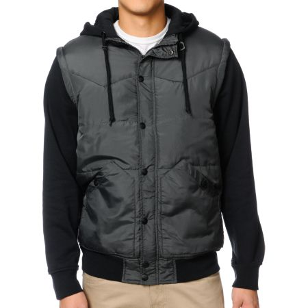 Dravus Plateau Charcoal & Black Hooded Vest Jacket