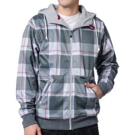 Empyre All Day Grey Plaid Zip Up Tech Fleece Jacket