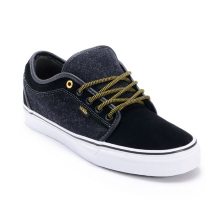 Vans Chukka Low Wool Black & Gold Skate Shoe